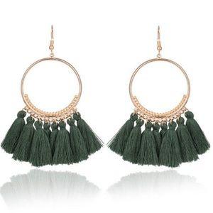 Jewelry - XMAS Long Tassel Fringe Boho Dangle Earrings GREEN